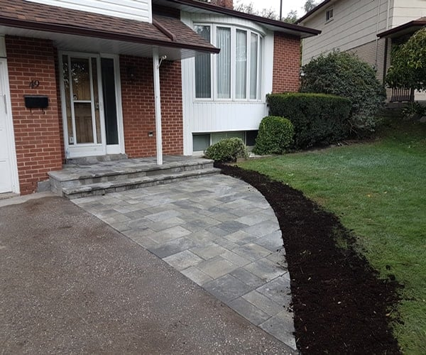 front yard paver installation