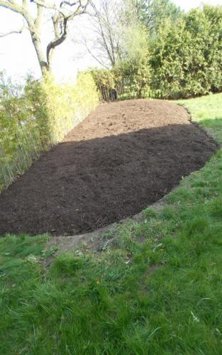Large Garden bed installation with landscape Fabric