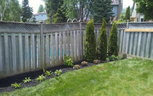 backyard fence garden installation 1