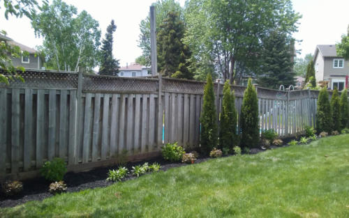 backyard fence garden installation 3