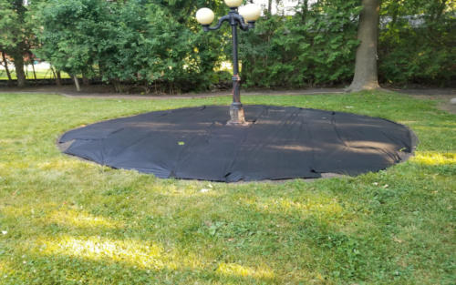 circular bed with fabric