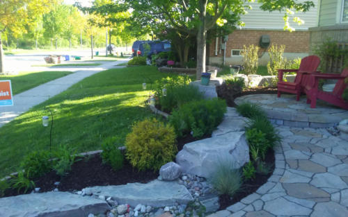 front garden cleanup stone