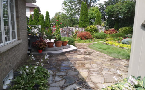garden bed with flag stone path 1