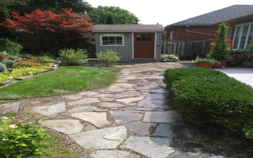 garden bed with flag stone path 2