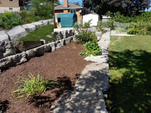 Backyard Large Stone Landscaping After