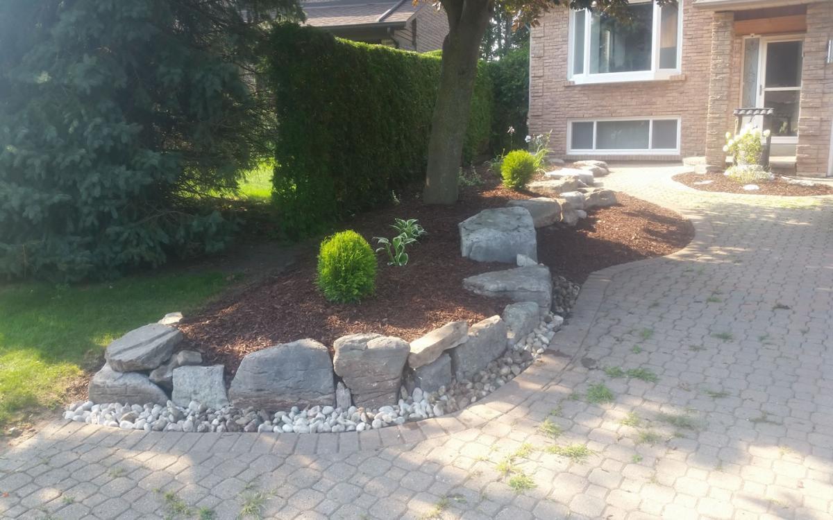 Gardening Gardener Flower Beds Rock Stone