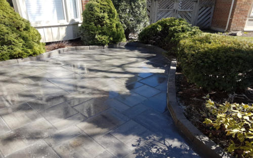 front yard paver patio with edge