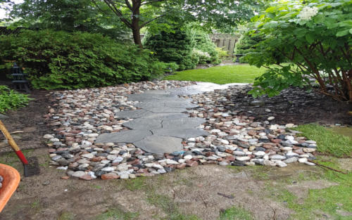 garden path with river stone
