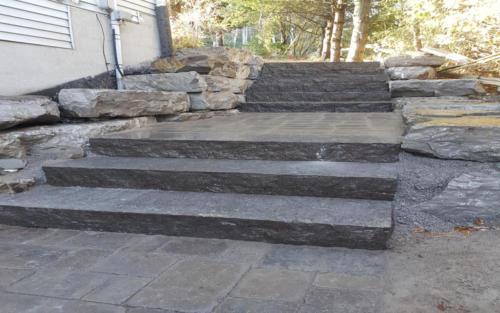 sideyard large stone steps