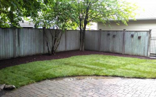 Backyard Sod Installation  Garden Bed1